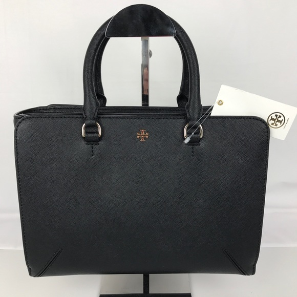 24658d0d95f4 Tory Burch Robinson Small Zip Black Leather Tote